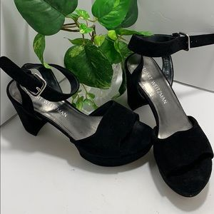Stuart Weitzman Black Chunky Heeled Sandals